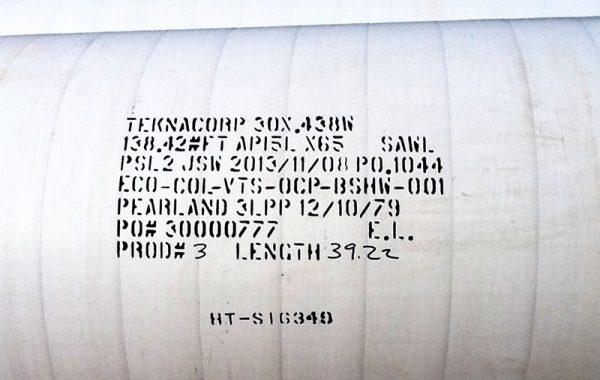 Línea de tuberías para Megafoso de Vertimiento para el Proyecto Desarrollo Castilla 170K